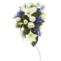 The sky is blue and white -funeral arrangement