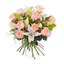 Arrangement of Roses and Lilies
