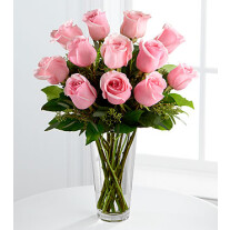 E8-4304 The Long Stem Pink Rose Bouquet by FTD - VASE INCLUDED